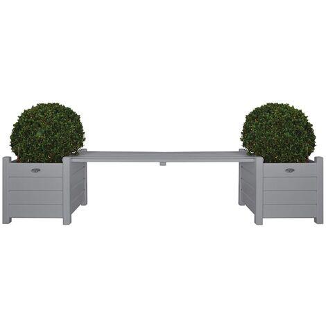Esschert Design Madera de Pino Jardineras con Banco Central Maceteros de Jardín con Asiento Maceta de Exterior Plantador Gris/Blanco