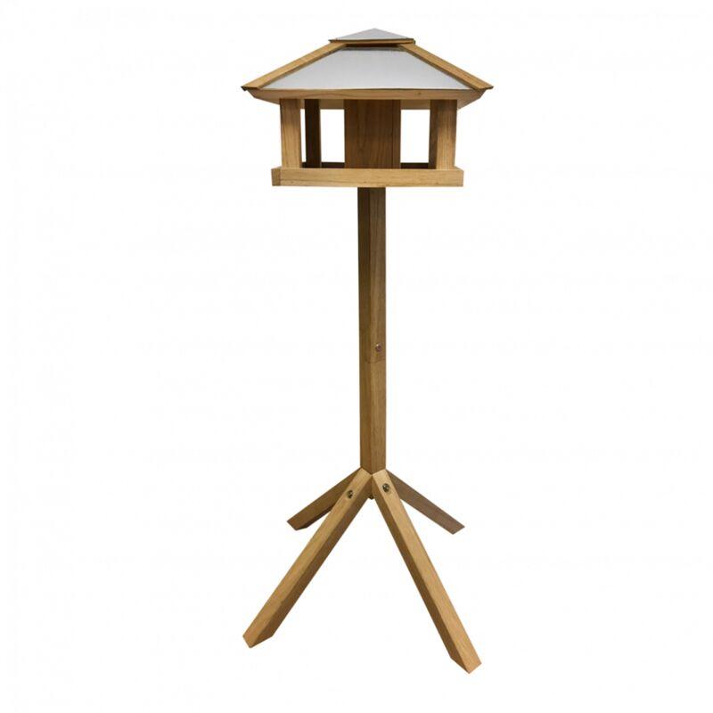 Mangeoire carrée avec silo - L 57 x l 57 x H 115 cm - Chêne - Livraison gratuite