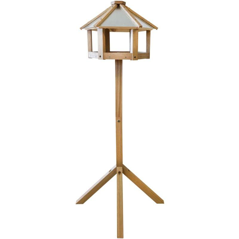 True Deal - Esschert Design Mangeoire à oiseaux hexagonale Chêne