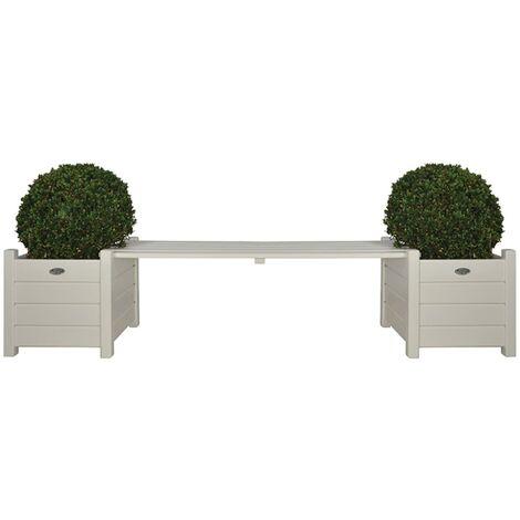 Esschert Design Planters with Bridge Bench White CF33W