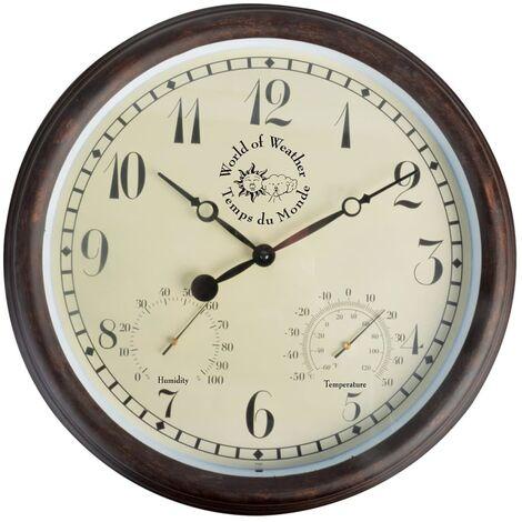 Esschert Design Station Clock with Thermo-Hygrometer 30.5 cm TF008 - Brown