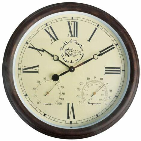 Esschert Design Station Clock with Thermo-Hygrometer 30.5 cm TF009 - Brown