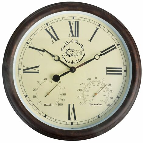 """main image of """"Esschert Design Station Clock with Thermo-Hygrometer 30.5 cm TF009 - Brown"""""""