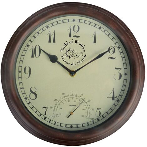 Esschert Design Station Clock with Thermometer 30.5 cm TF007 - Brown