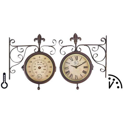 Esschert Design Station Clock with Thermometer TF005 - Brown