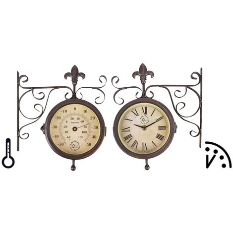 """main image of """"Esschert Design Station Clock with Thermometer TF005 - Brown"""""""
