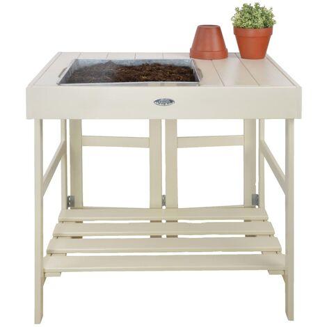 Esschert Design Table de rempotage Blanc