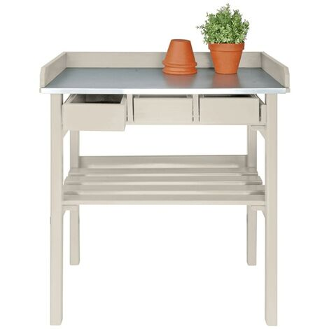 Esschert Design Table de rempotage blanche CF29W