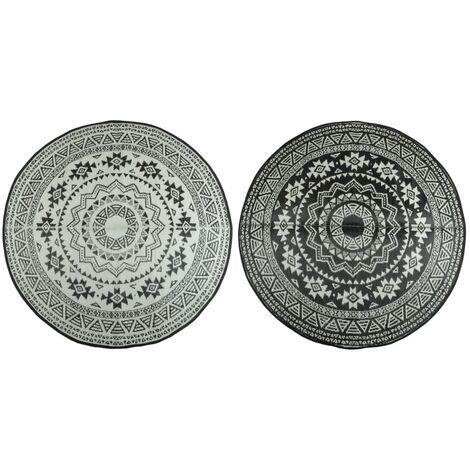 Esschert Design Tapis d'extérieur 180 cm Noir et blanc OC18