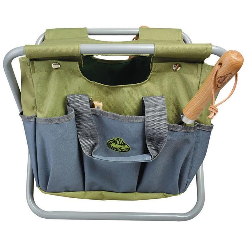 Image of Garden Tool Bag and Stool Grey GT85 - Grey - Esschert Design