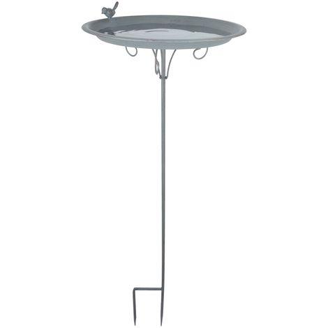 Esschert Design Vogeltränke auf Stab Metall grau