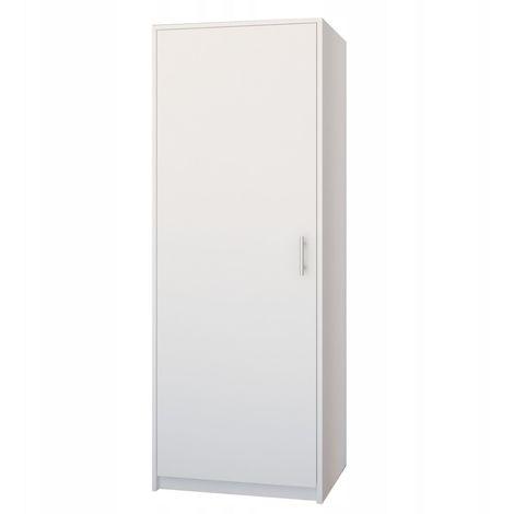 ESSEN | Petite armoire contemporaine chambre/bureau/studio | 180x55x42 cm | Penderie | Meuble de rangement | Blanc - Blanc