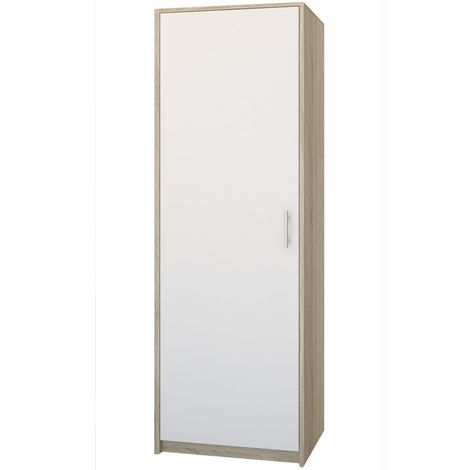 ESSEN | Petite armoire contemporaine chambre/bureau/studio | 180x55x42 cm | Penderie | Meuble de rangement | Sonoma/Blanc - Sonoma/Blanc