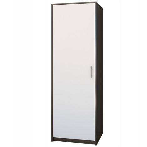 ESSEN | Petite armoire contemporaine chambre/bureau/studio | 180x55x42 cm | Penderie | Meuble de rangement | Wenge/Blanc - Wenge/Blanc