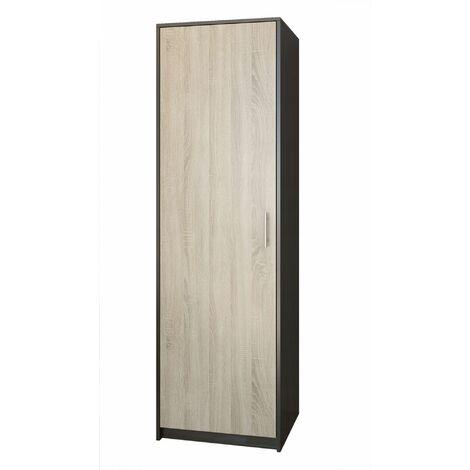 ESSEN | Petite armoire contemporaine chambre/bureau/studio | 180x55x42 cm | Penderie | Meuble de rangement | Wenge/Sonoma - Wenge/Sonoma