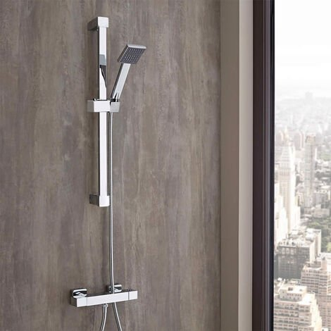 "main image of ""Essen Square Thermostatic Shower, Slider Rail & Handset"""