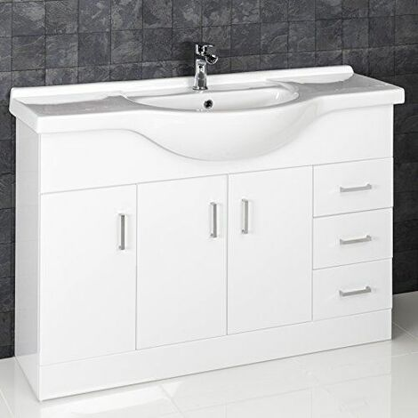 Essence White Gloss Bathroom Sink Cabinet - 1200mm Width