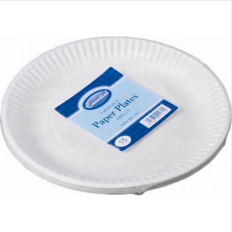 Image of Essential Biodegradable Paper Plates (Pack Of 15) (23cm) (White)