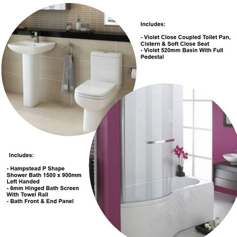 Essential Hampstead Shower Bath With Violet Toilet And Basin Suite