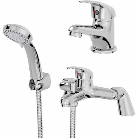 Essentials Basin Mixer Tap and Bath Shower Mixer Tap Set