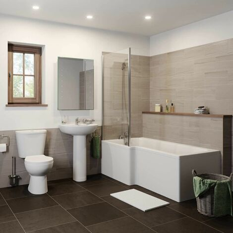 Essentials L Bathroom Suite with Left Hand Bath