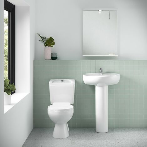 Essentials Toilet & Basin Bathroom Suite - 1 Tap Hole