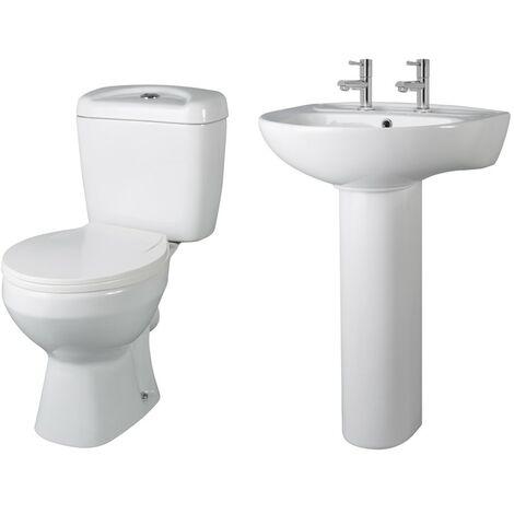 Essentials Toilet & Basin Bathroom Suite - 2 Tap Hole