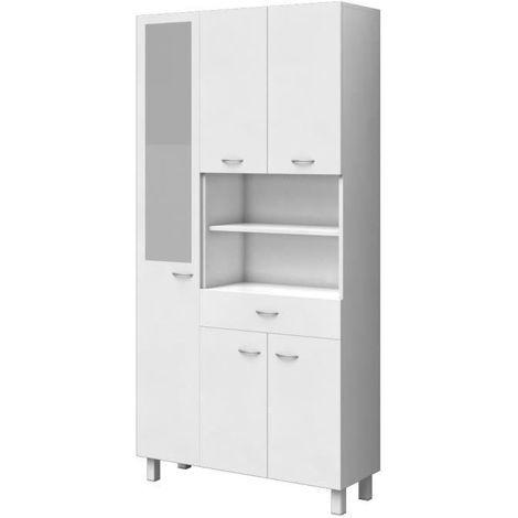 ESSENTIEL - Colonne de salle de bain 5 portes - Blanc - L 80 cm Aucune