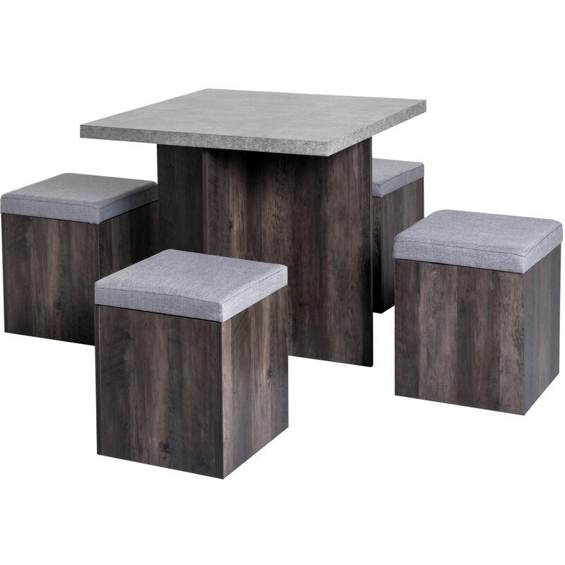 ® Essgruppe Esstisch Set mit 4 Hockern Grau 80x80cm - grau/braun - Homcom