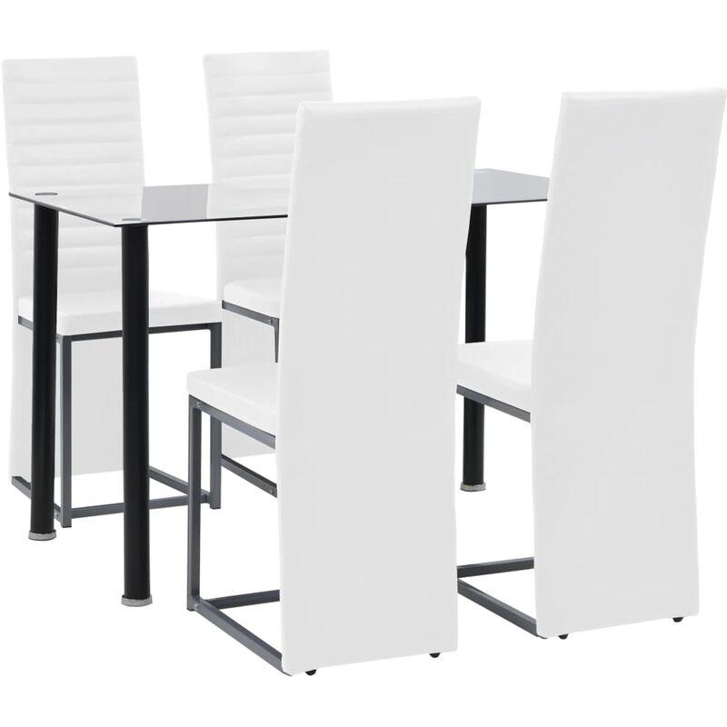 Essgruppe 5-tlg. Stahl und Hartglas Schwarz und Weiß