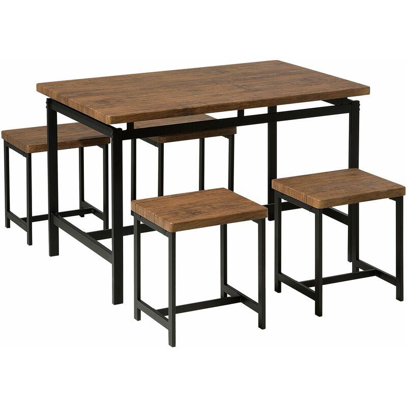 Essgruppe Esszimmer Set Braun Tisch 4 Hockern 75 x 120 cm MDF Tischplatte Metallgestell Industriell - BELIANI