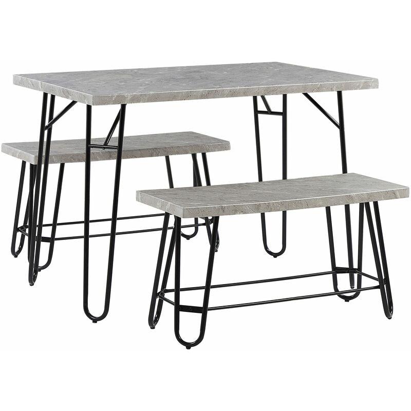 Essgruppe Grau MDF-Platte Marmor Optik Tisch mit 2 Bänken Metallgestell Industrie Look Esszimmer Wohnzimmer Möbel - BELIANI
