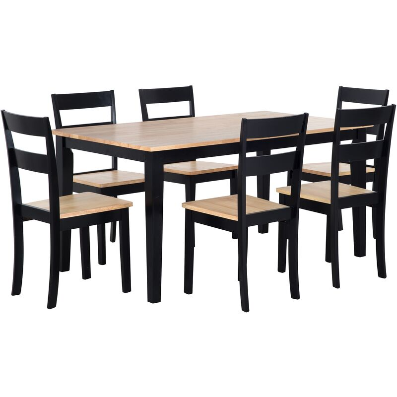 Essgruppe Esszimmer Set Tisch 6 Stühle Schwarz Braun Stabiles Gestell Modern Scandinavien Stil - BELIANI