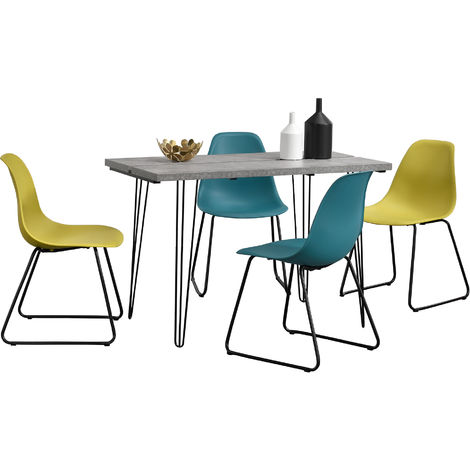 ® Esstisch 120x60cm Hairpinlegs mit 4 Stühlen senfgelb Kunststoff Tisch en.casa