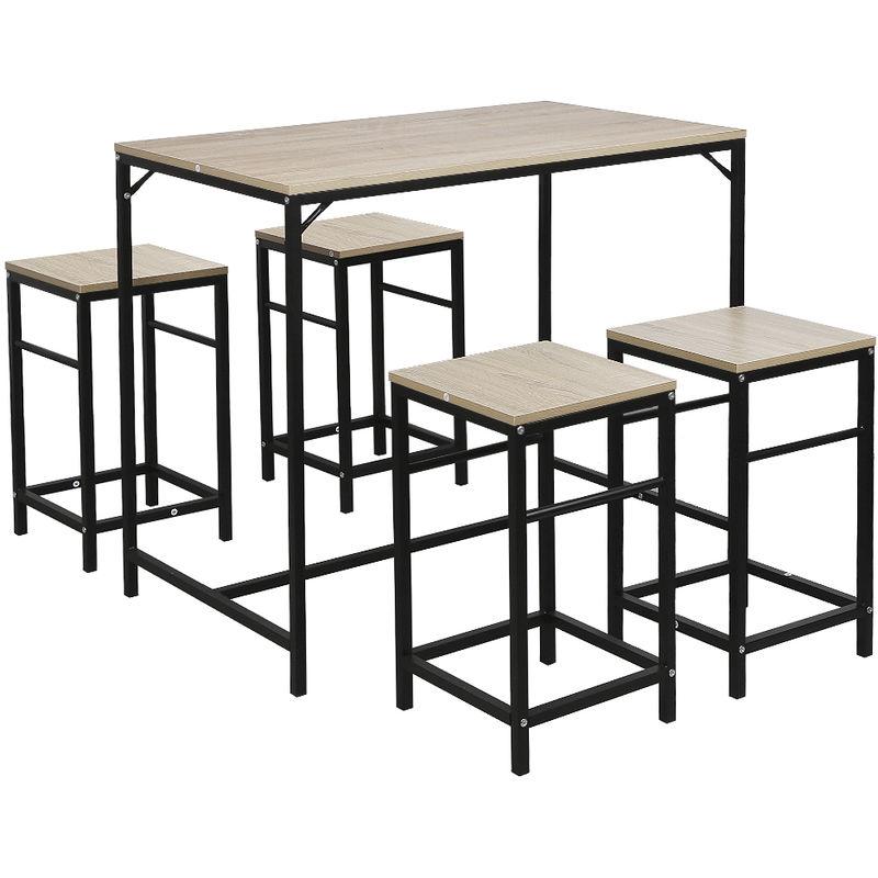 Esstisch | Bartisch mit 4 Stühlen - Esszimmer Essgruppe Küche .Eiche Farbe - WYCTIN