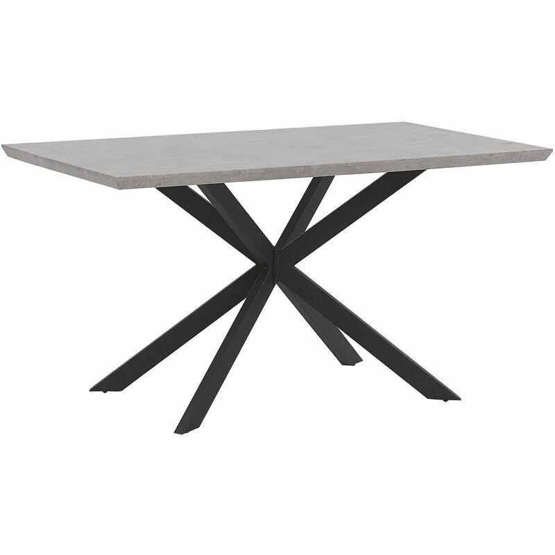 Esstisch Betonoptik Schwarz 140 x 80 cm Holzfurnierte MDF Tischplatte Metallfüße Rechteckig Modern - BELIANI
