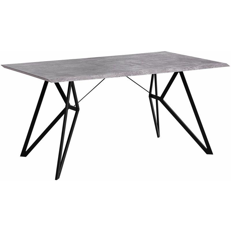 Beliani - Esstisch Grau Schwarz 90 x 160 cm MDF Tischplatte Metallfüßen Furnier Rechteckig Betonoptik Modern Scandinavien Stil