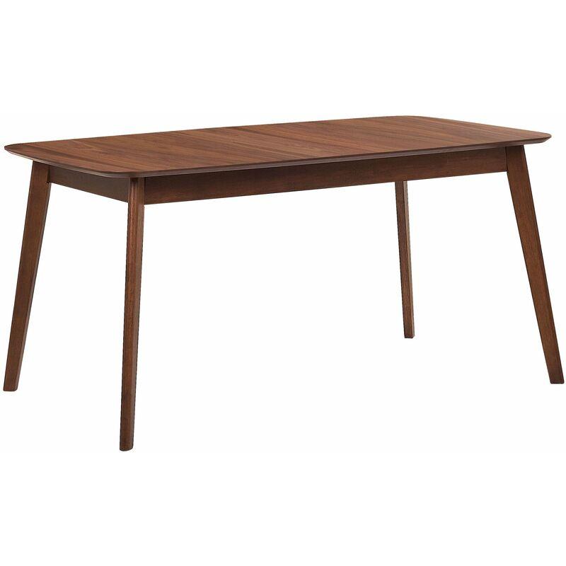 Esstisch Weiß mit Braun 90 x 150 cm Holzfurnierte Tischplatte Laminiert Rechteckig Klassisch - BELIANI