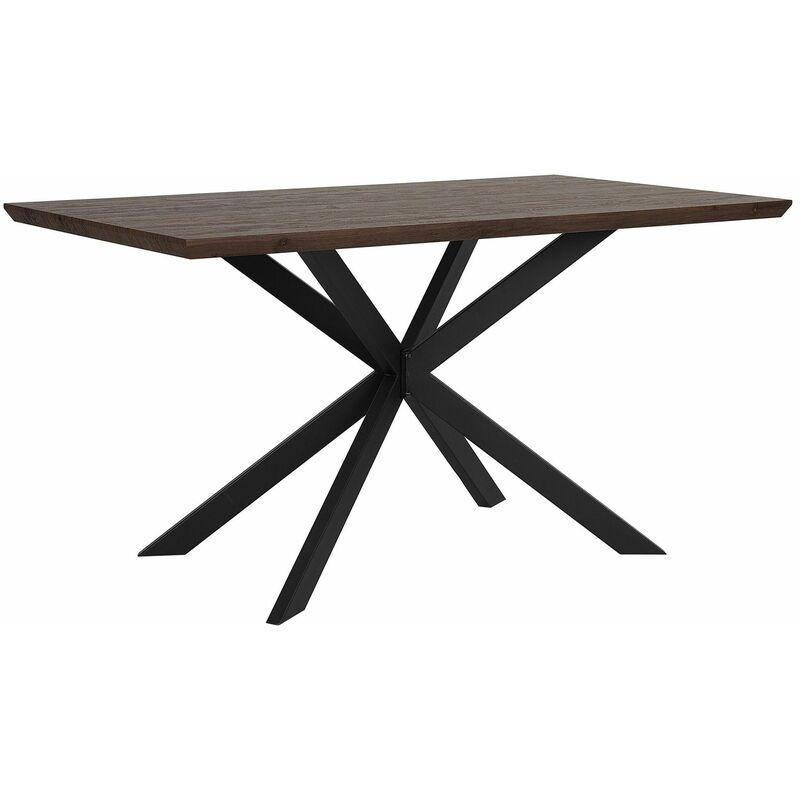 Esstisch Braun mit Schwarz 80 x 140 cm Holzfurnierte MDF Tischplatte Metallfüßen Rechteckig Modern - BELIANI