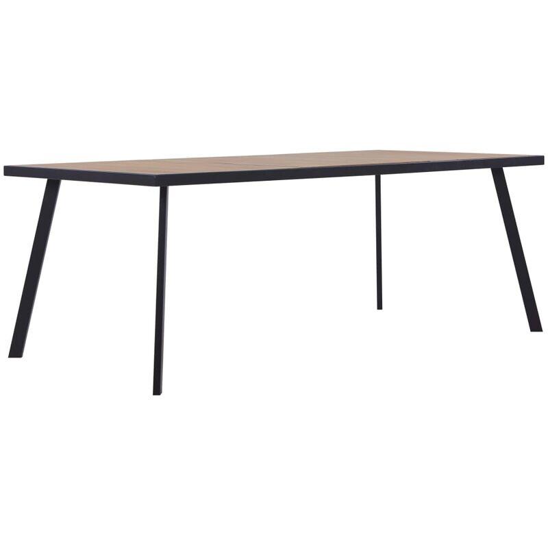Esstisch Helles Holz Schwarz 180×90×75cm MDF - VIDAXL