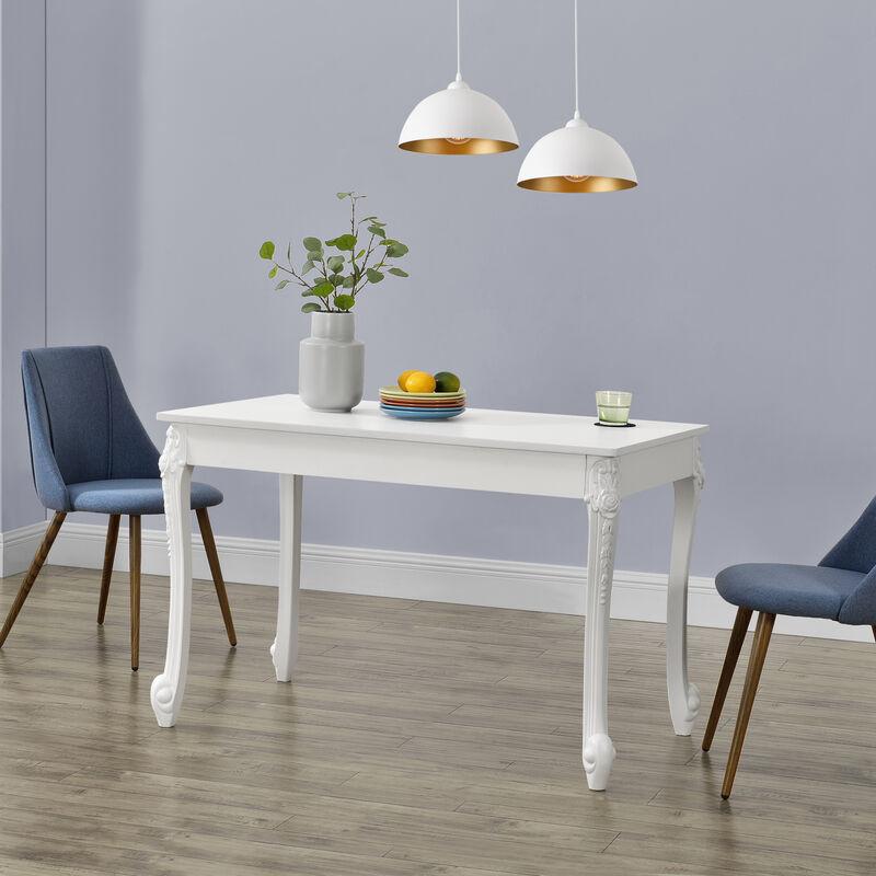 Esstisch für 4 Personen Küchentisch im Landhausstil Weiß Esszimmertisch Tisch Esszimmer MDF 76x116x66cm - [EN.CASA]
