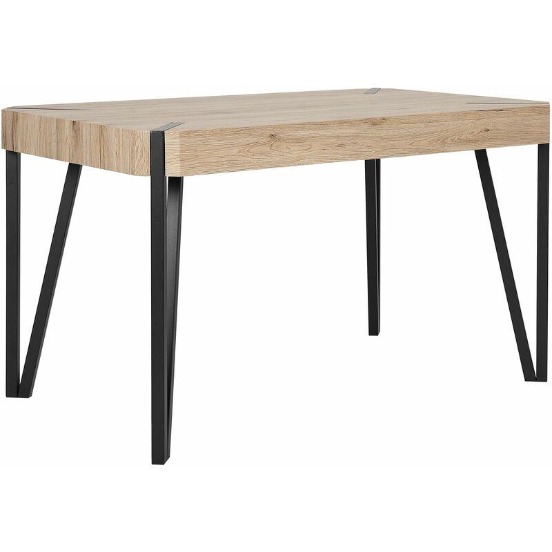 Esstisch Braun Schwarz 80 x 130 cm Holzoptik Tischplatte Metall Furniert Abgerundete Ecken Rechteckig Modern - BELIANI