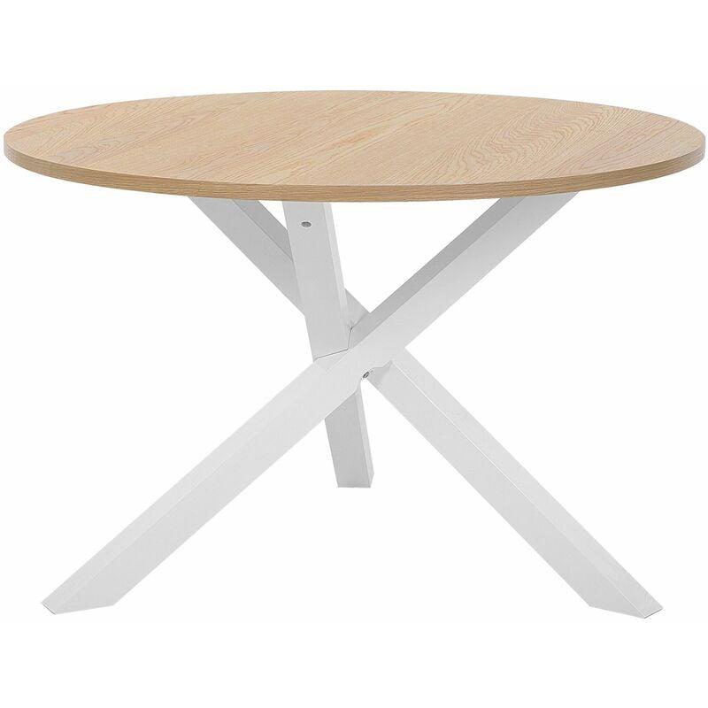 Esstisch Braun mit Weiß Holzoptik MDF Tischplatte Glänzend Rund Modern Landhausstil - BELIANI