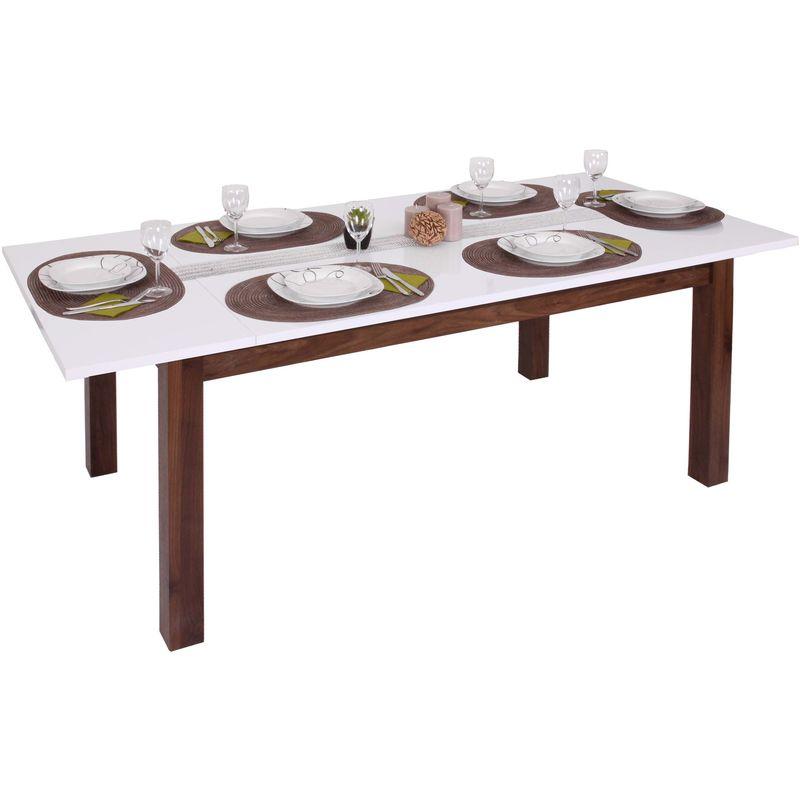 Esstisch 227, Esszimmertisch Tisch, ausziehbar hochglanz Walnuss-Optik 160-200x90cm - HHG
