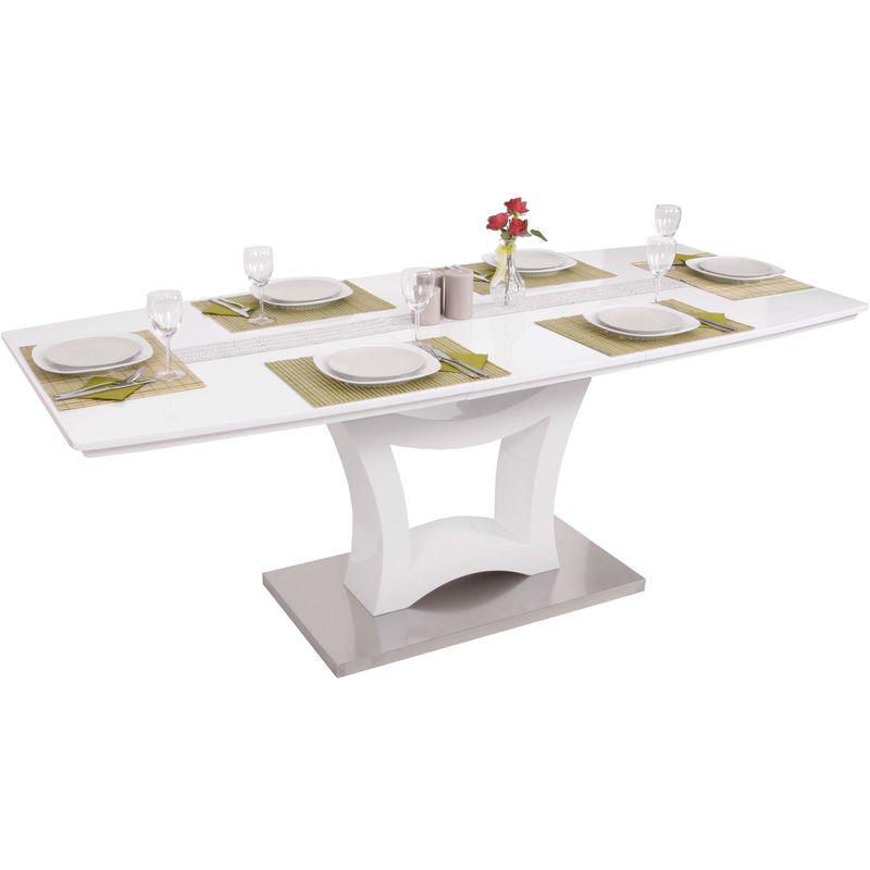 Esstisch 546, Esszimmertisch Tisch, ausziehbar hochglanz Edelstahl 160-205x90cm - HHG