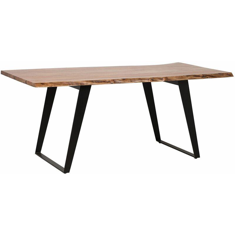 Beliani - Esstisch Braun mit Schwarz Akazienholz Tischplatte Stahl Tischbeinen Matt Rechteckig Modern Industriell