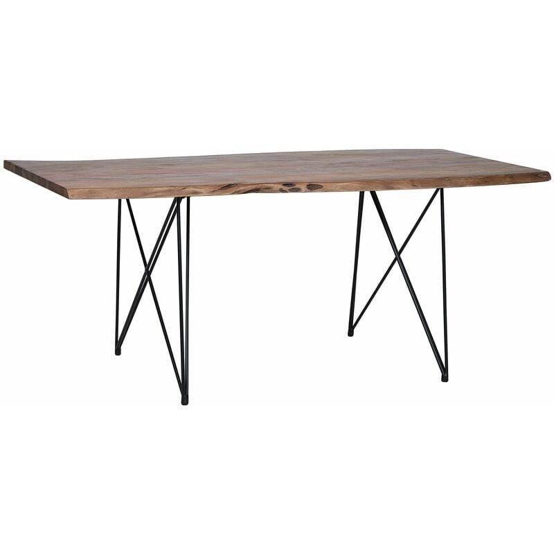 Esstisch Dunkelbraun Akazienholz 90 x 180 cm rechteckig mit V Metallgestell Matt Unregelmäßige Form Industriell - BELIANI