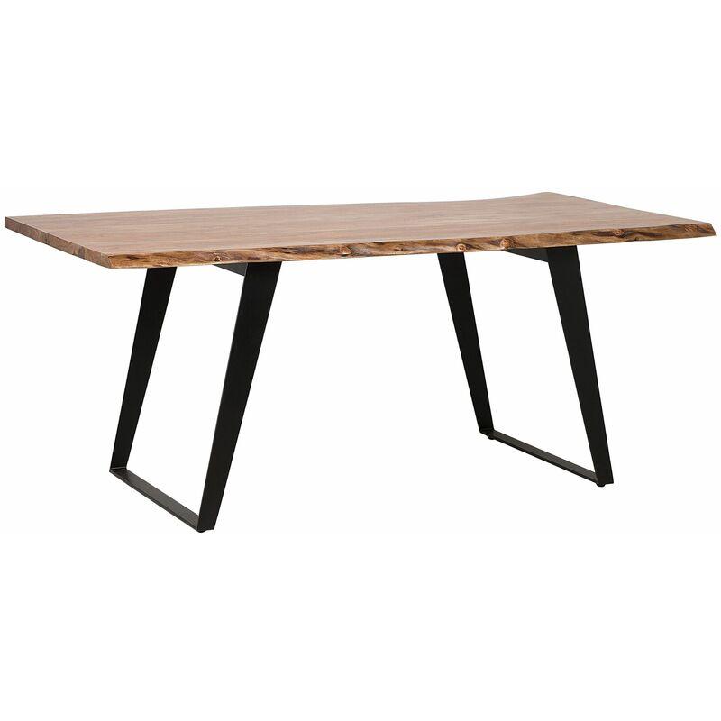 Esstisch aus Holz Braun 100 x 200 cm Akazienholz Matt Rechteckig Elegant Industriell