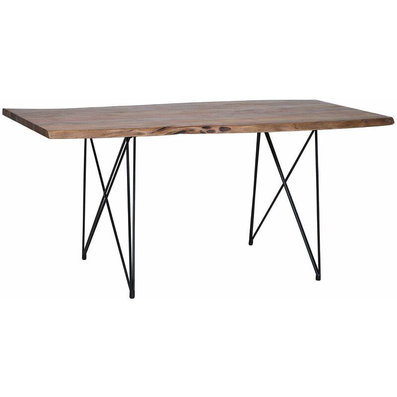 Esstisch Dunkelbraun Akazienholz 100 x 200 cm rechteckig mit V Metallgestell Matt Unregelmäßige Form Industriell - BELIANI