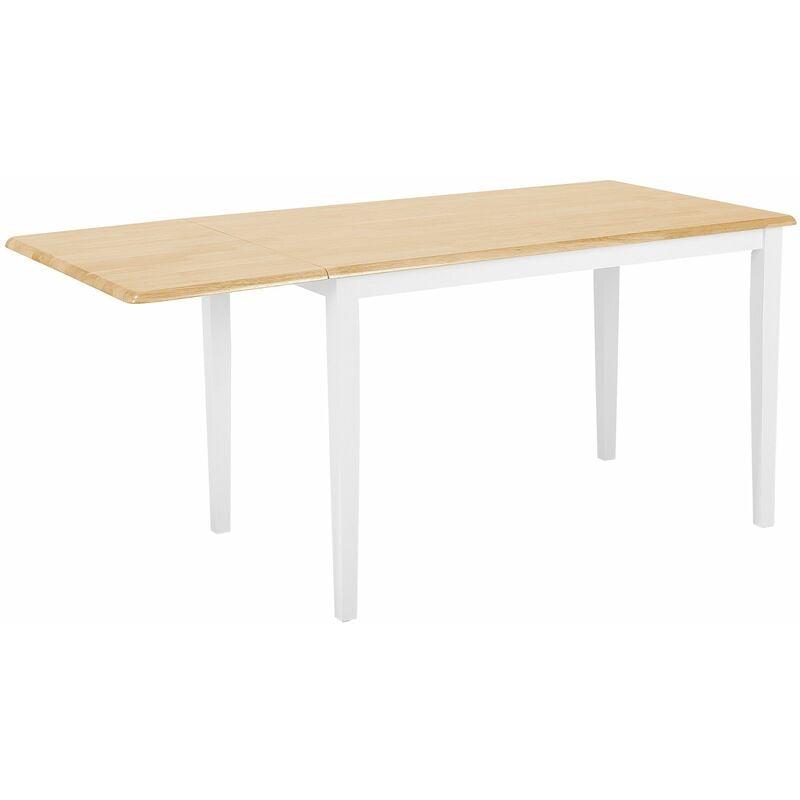 Esstisch Weiß mit Braun 75 x 119 cm Verlängerbar Ausziehbare Tischplatte Lackiert Rechteckig Klassisch Landhausstil - BELIANI